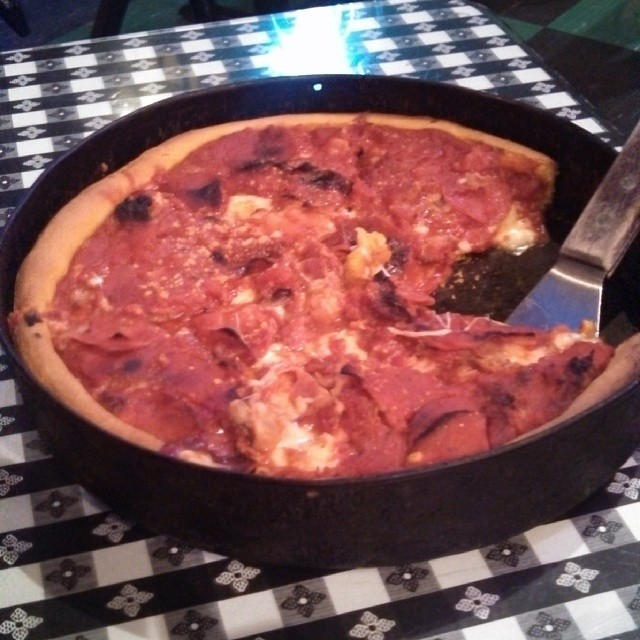 The Meaty Legend Chicago Deep Dish Pizza at The Original Gino's East
